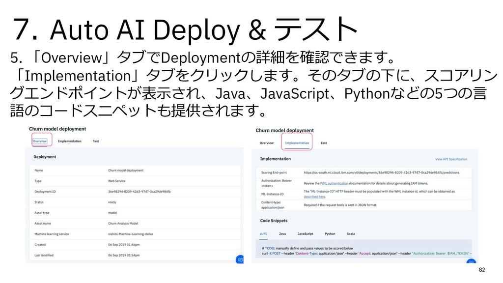7. Auto AI Deploy & テスト 5. 「Overview」タブでDeploym...