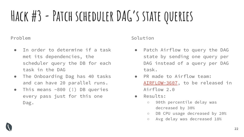 22 Hack #3 - Patch scheduler DAG's state querie...