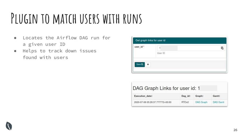 26 Plugin to match users with runs ● Locates th...