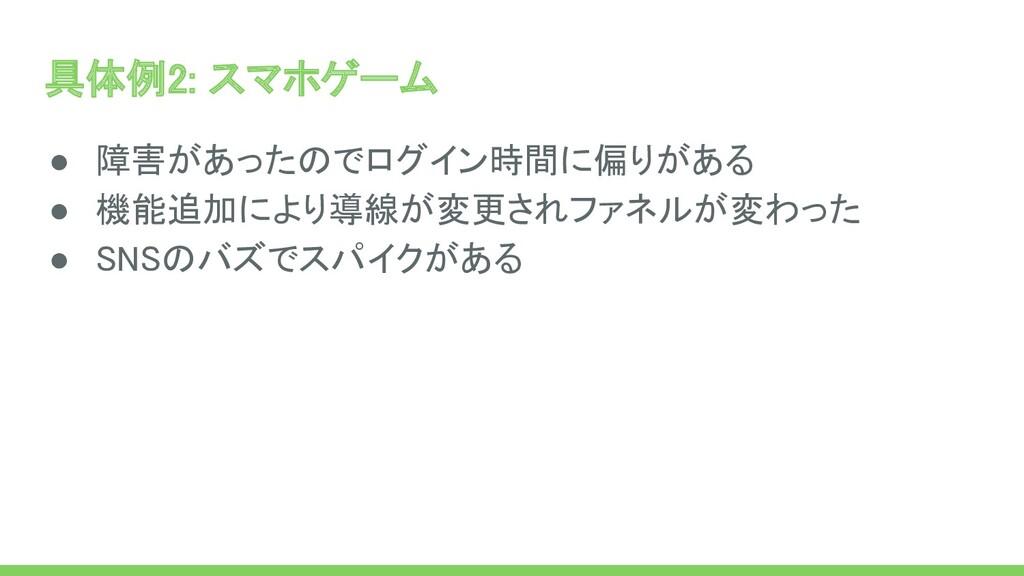 具体例2: スマホゲーム ● 障害があったのでログイン時間に偏りがある ● 機能追加により...