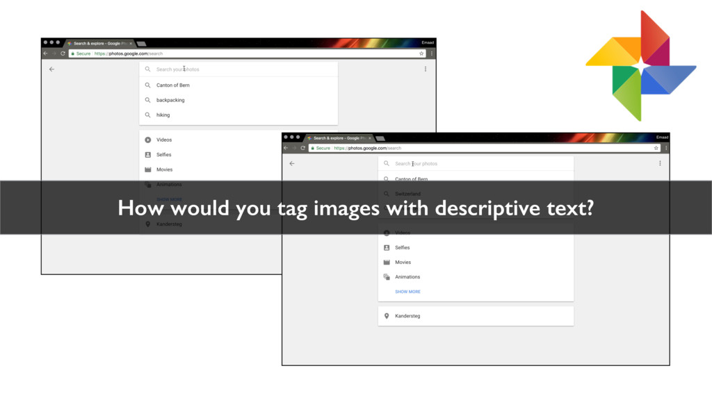 How would you tag images with descriptive text?