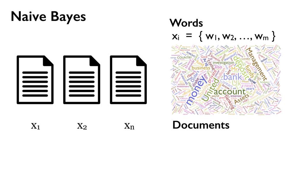 Naive Bayes Documents x1 x2 xn xi = { w1, w2, …...