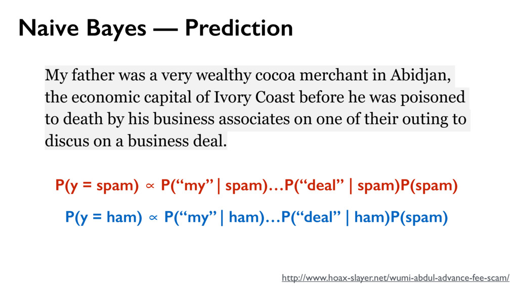 Naive Bayes — Prediction My father was a very w...