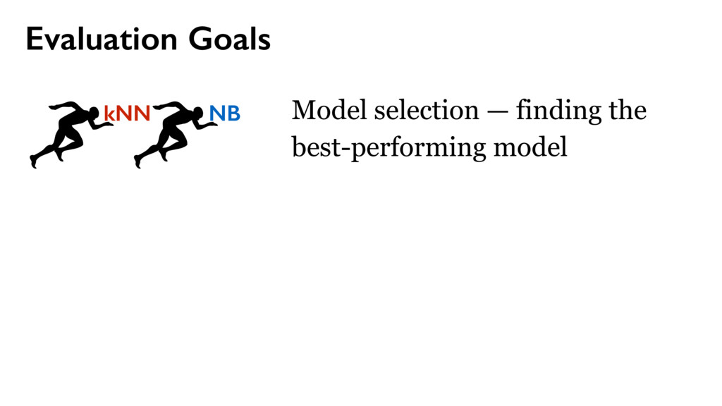 Evaluation Goals Model selection — finding the ...