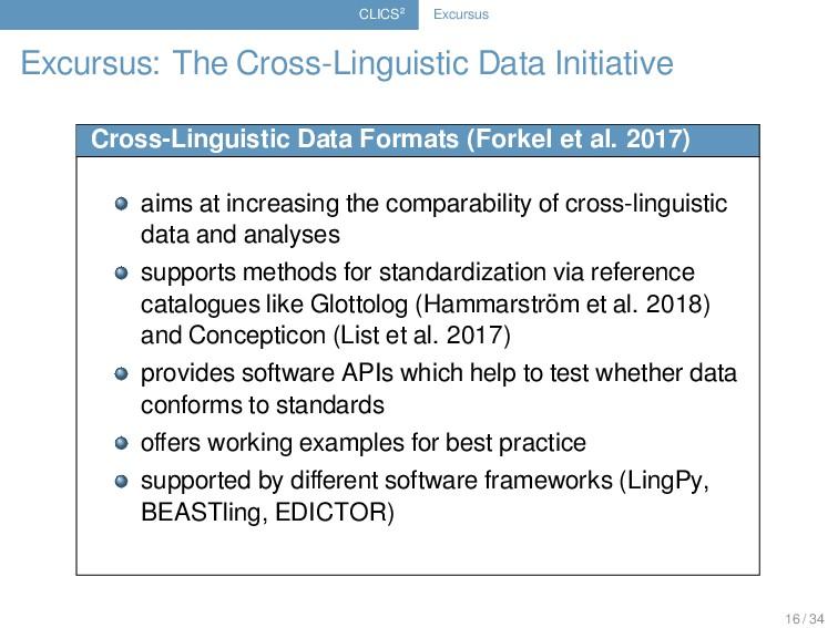 CLICS² Excursus Excursus: The Cross-Linguistic ...