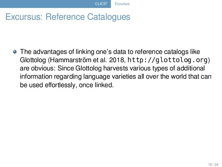 CLICS² Excursus Excursus: Reference Catalogues ...