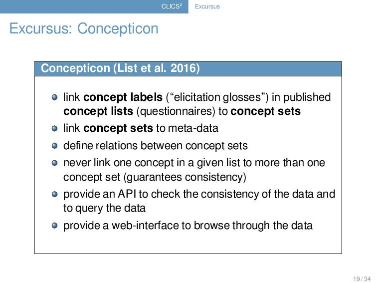 CLICS² Excursus Excursus: Concepticon Conceptic...