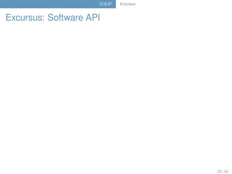 CLICS² Excursus Excursus: Software API 25 / 34