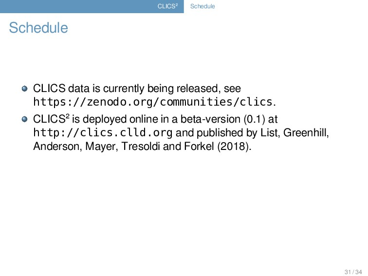 CLICS² Schedule Schedule CLICS data is currentl...
