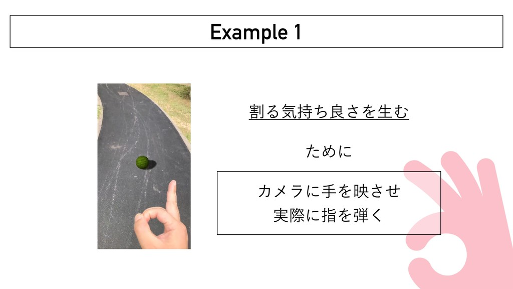 ׂΔؾͪྑ͞ΛੜΉ ͨΊʹ ΧϝϥʹखΛөͤ͞ ࣮ࡍʹࢦΛ͘ Example 1