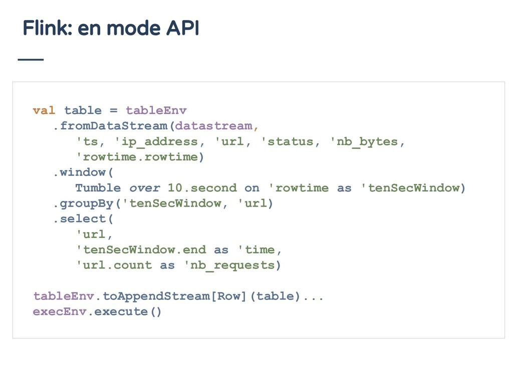 Flink: en mode API val table = tableEnv .fromDa...