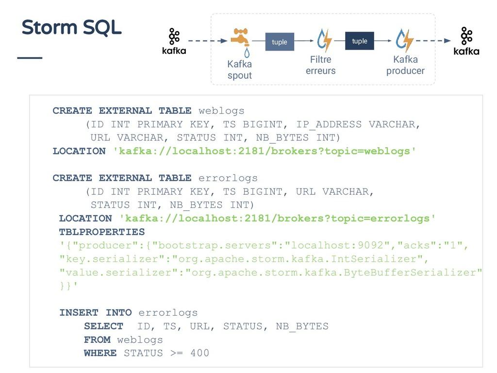 Storm SQL CREATE EXTERNAL TABLE weblogs (ID INT...