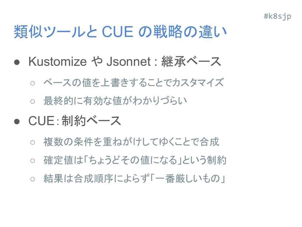 類似ツールと CUE の戦略の違い ● Kustomize や Jsonnet : 継承ベース...