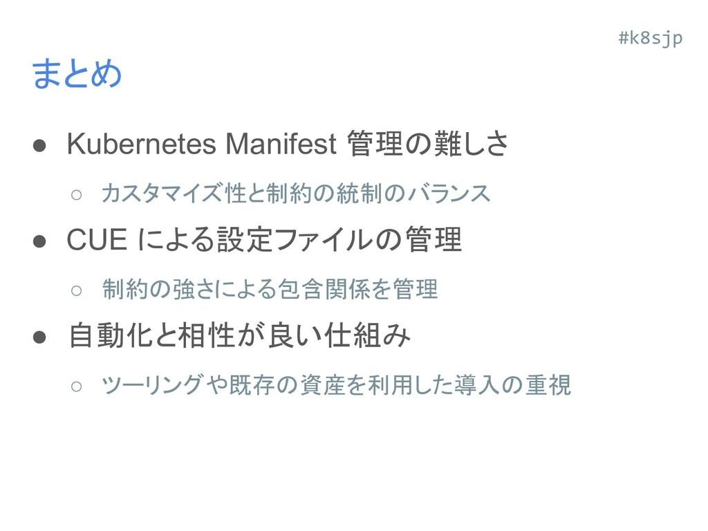 まとめ ● Kubernetes Manifest 管理の難しさ ○ カスタマイズ性と制約の統...