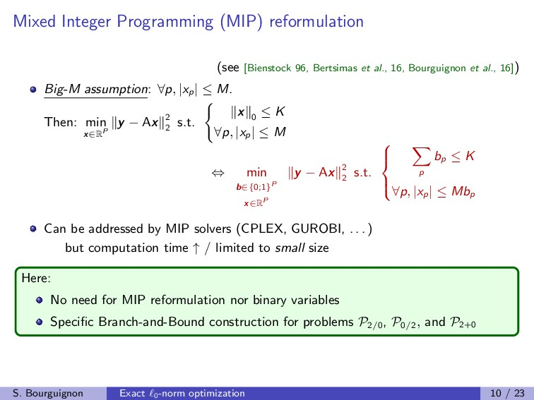 Mixed Integer Programming (MIP) reformulation (...