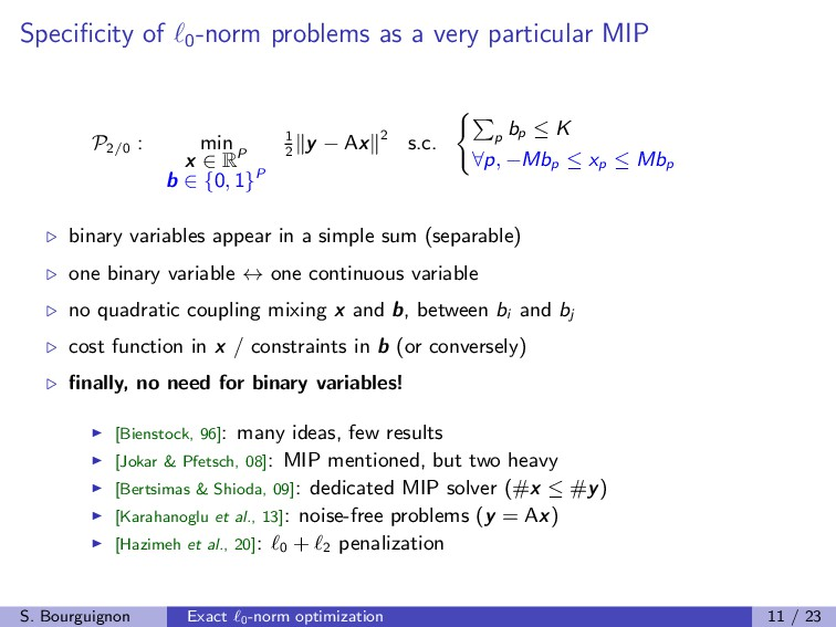 Specificity of 0 -norm problems as a very partic...