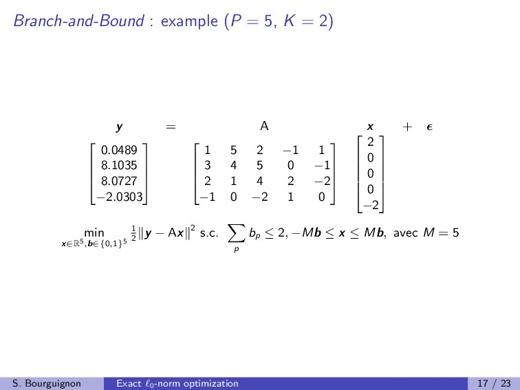 Branch-and-Bound : example (P = 5, K = 2) y = A...