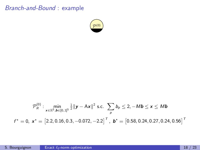 Branch-and-Bound : example P(0) P(0) R : min x∈...