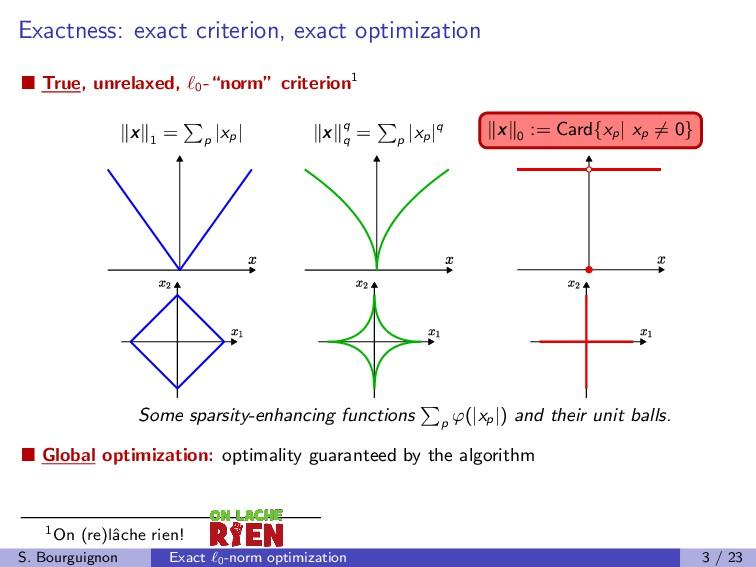 Exactness: exact criterion, exact optimization ...