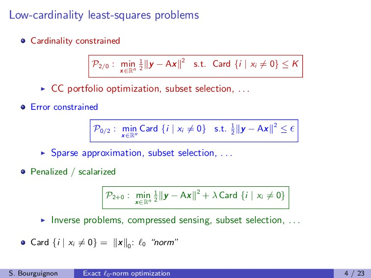 Low-cardinality least-squares problems Cardinal...