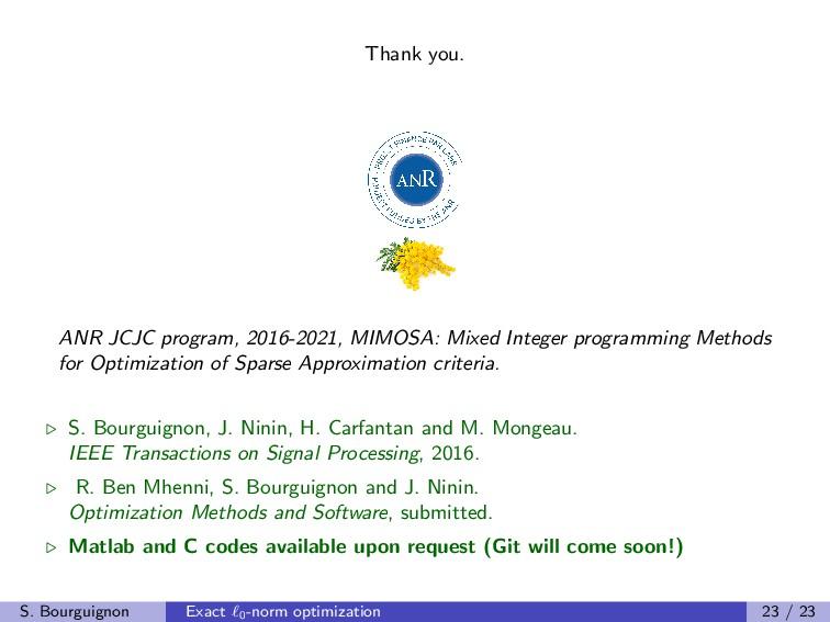 Thank you. ANR JCJC program, 2016-2021, MIMOSA:...