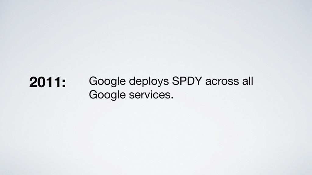 Google deploys SPDY across all Google services....