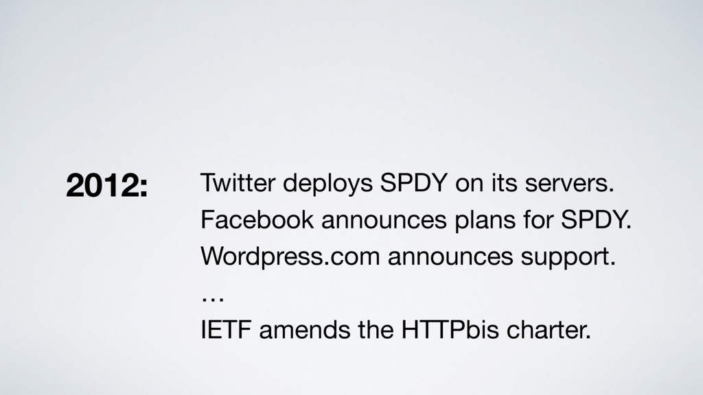 Twitter deploys SPDY on its servers.  Facebook ...