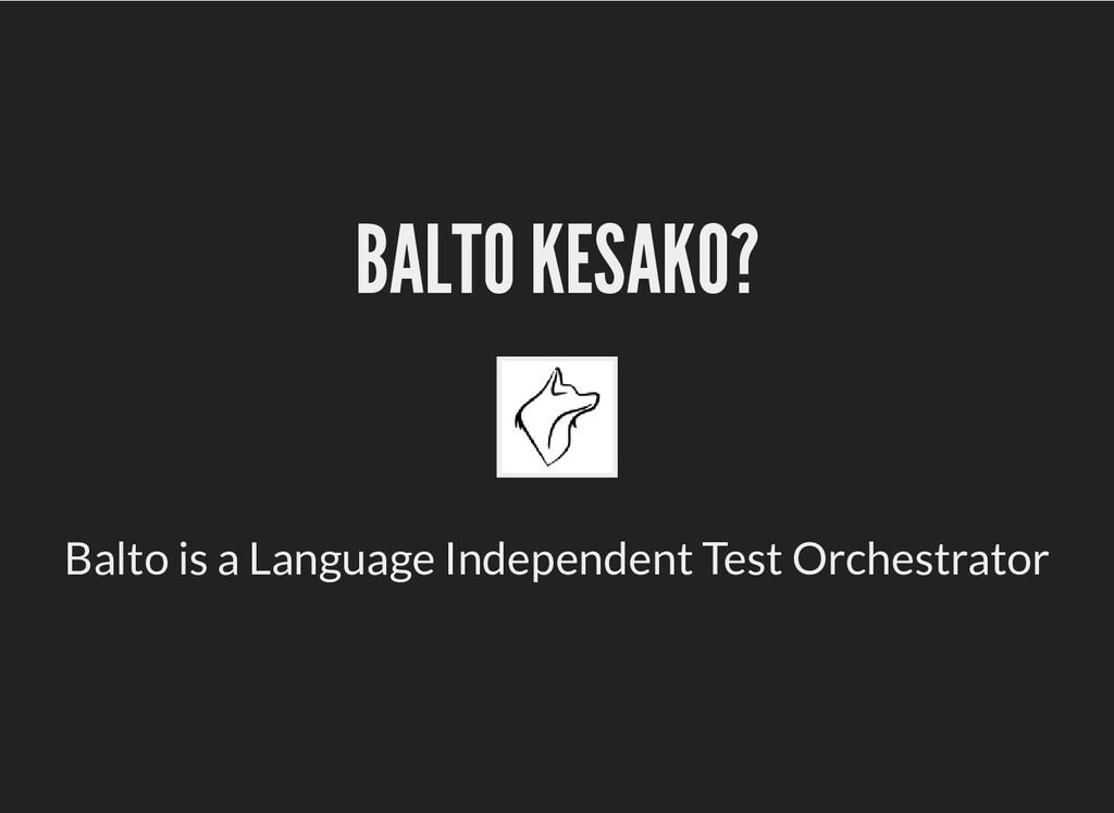 BALTO KESAKO? BALTO KESAKO? Balto is a Language...