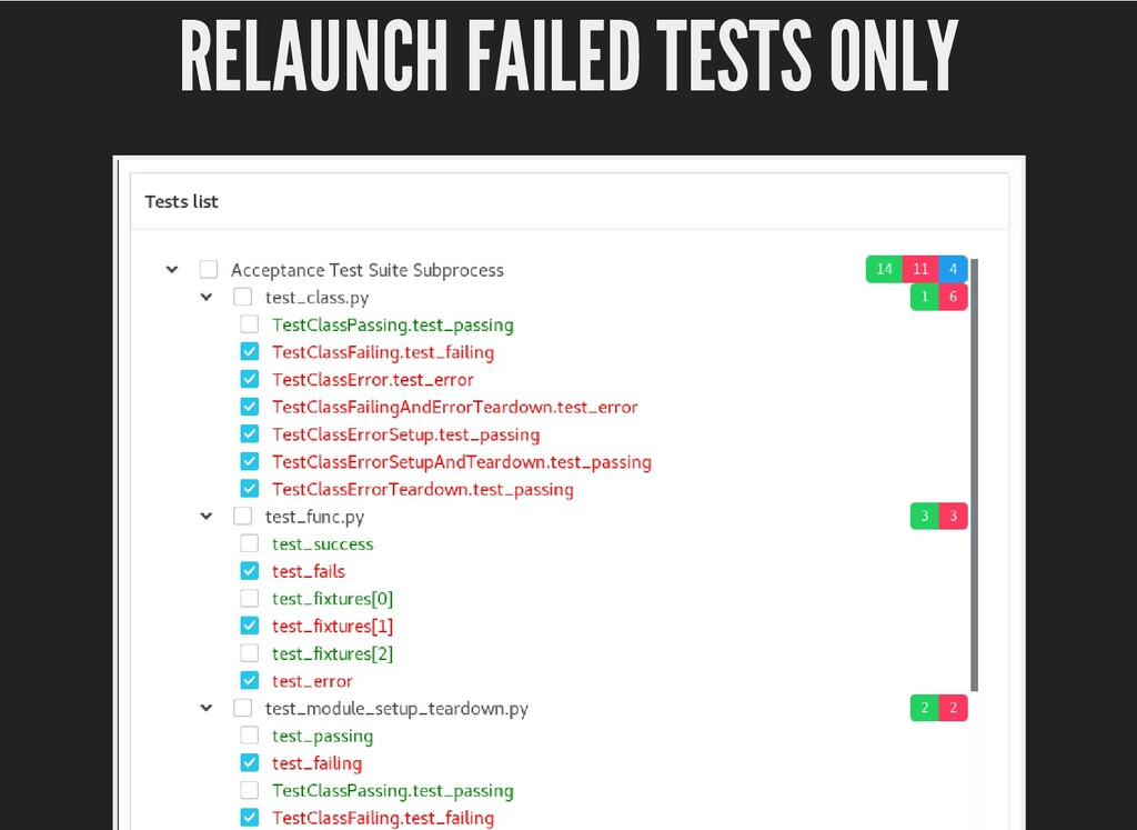RELAUNCH FAILED TESTS ONLY RELAUNCH FAILED TEST...