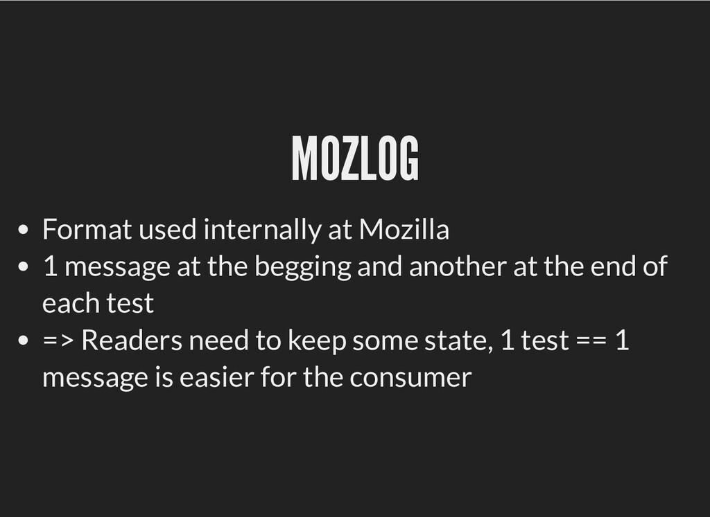 MOZLOG MOZLOG Format used internally at Mozilla...