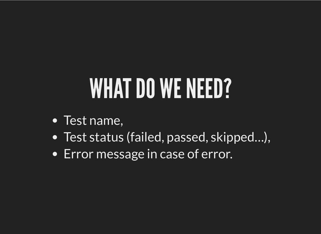 WHAT DO WE NEED? WHAT DO WE NEED? Test name, Te...
