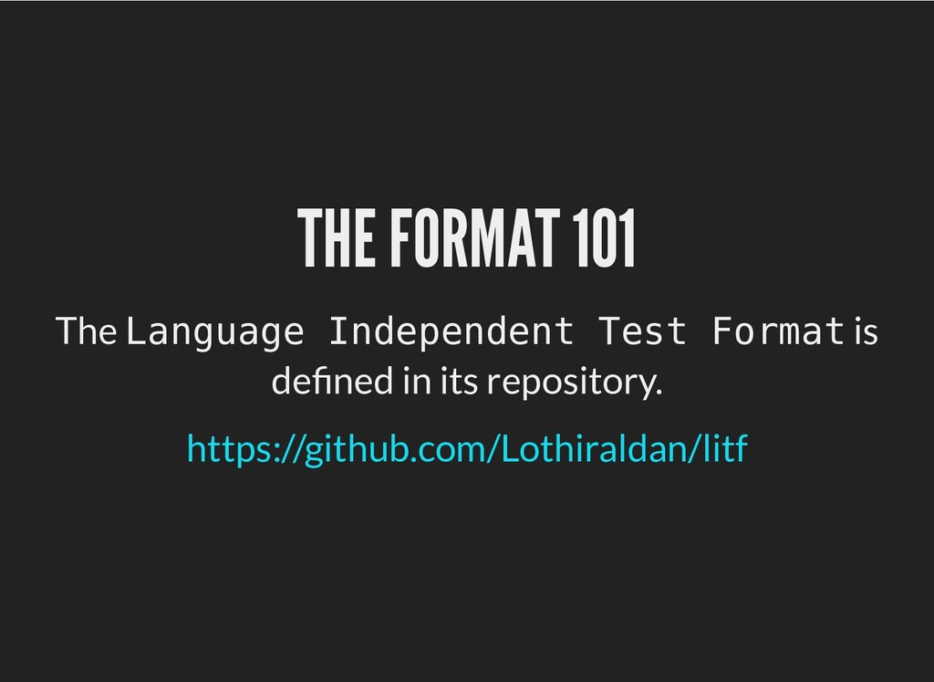 THE FORMAT 101 THE FORMAT 101 The Language Inde...