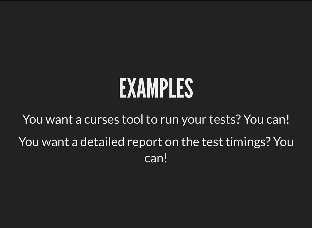 EXAMPLES EXAMPLES You want a curses tool to run...