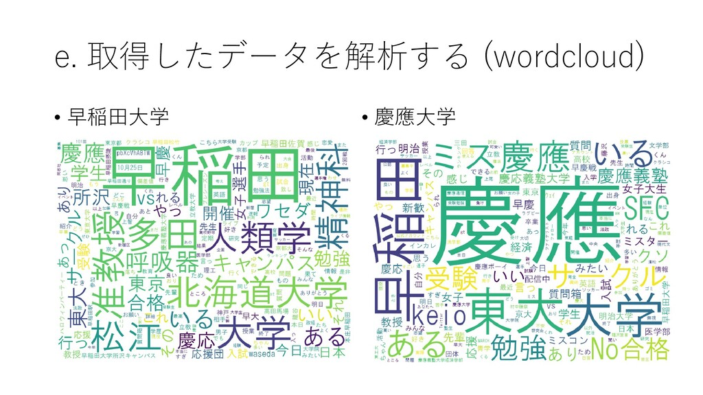 e. 取得したデータを解析する (wordcloud) • 早稲田大学 • 慶應大学