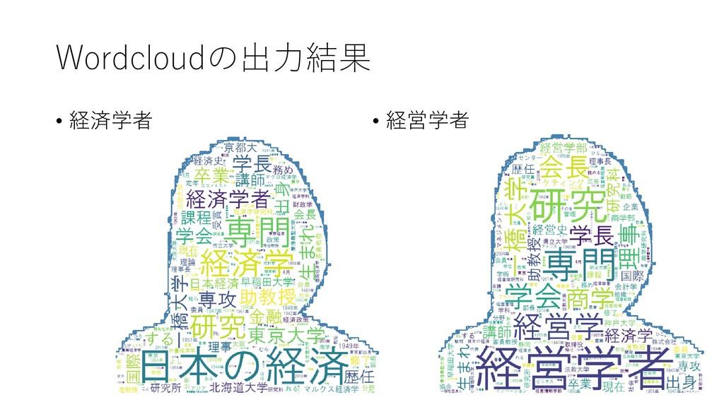Wordcloudの出力結果 • 経済学者 • 経営学者