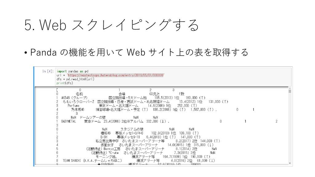 5. Web スクレイピングする • Panda の機能を用いて Web サイト上の表を取得する