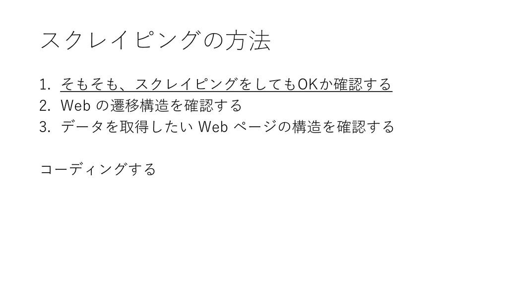 スクレイピングの方法 1. そもそも、スクレイピングをしてもOKか確認する 2. Web の遷...
