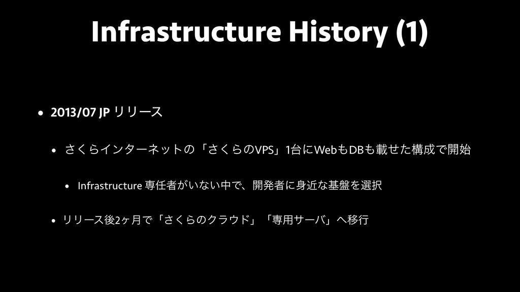 Infrastructure History (1) • 2013/07 JP ϦϦʔε • ...
