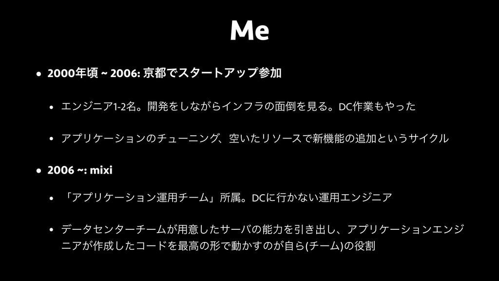 Me • 2000ࠒ ~ 2006: ژͰελʔτΞοϓՃ • ΤϯδχΞ1-2໊ɻ։ൃ...