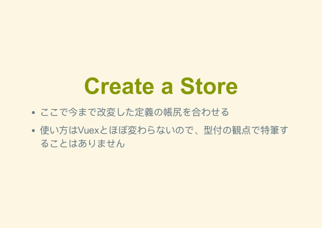 Create a Store ここで今まで改変した定義の帳尻を合わせる 使い方はVuex とほ...