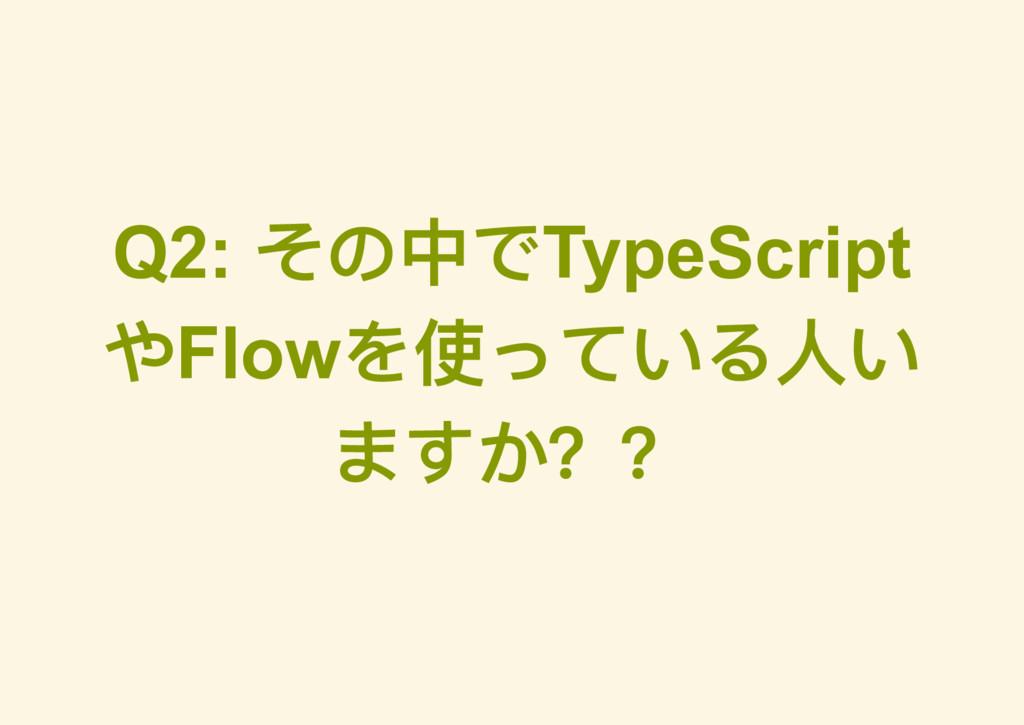 Q2: その中でTypeScript やFlow を使っている人い ますか??