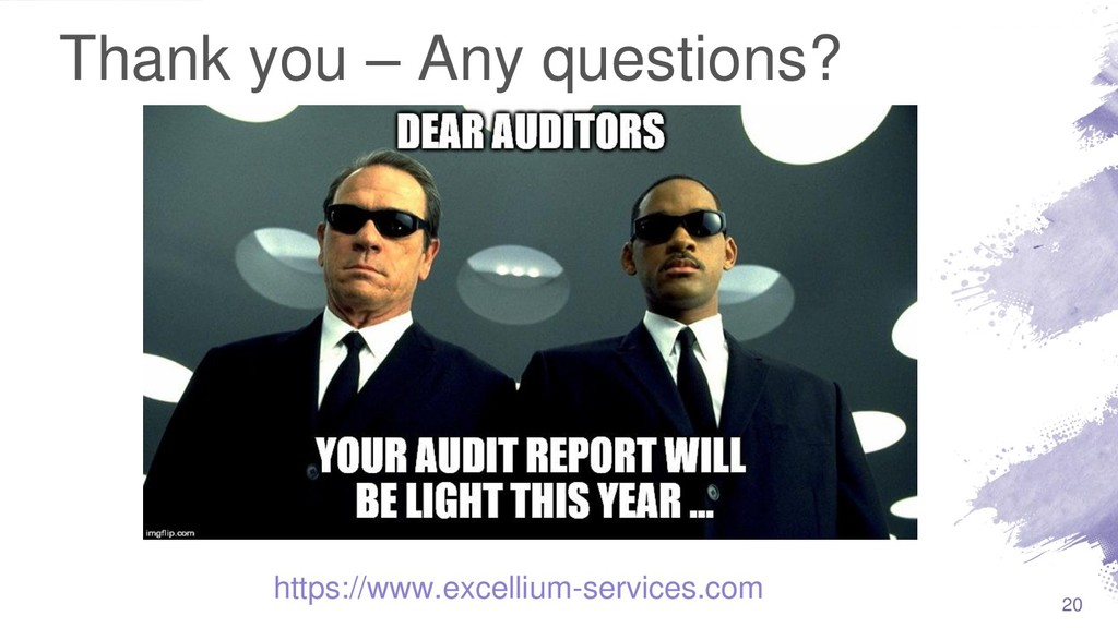 Thank you – Any questions? 20 https://www.excel...