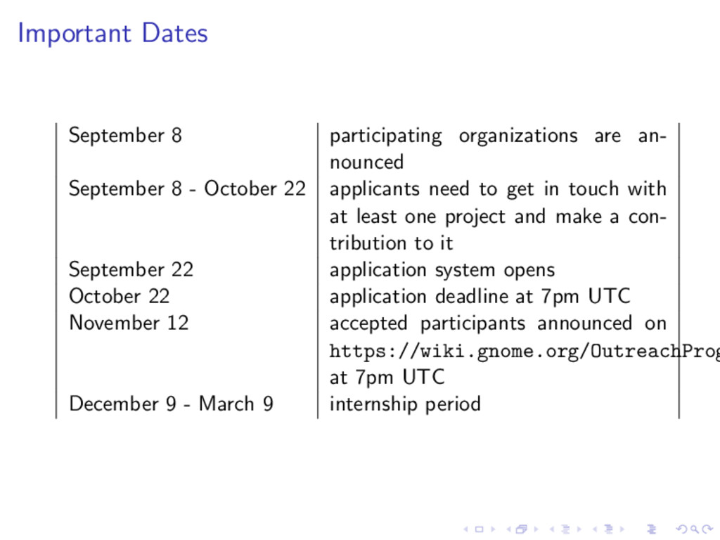 Important Dates September 8 participating organ...