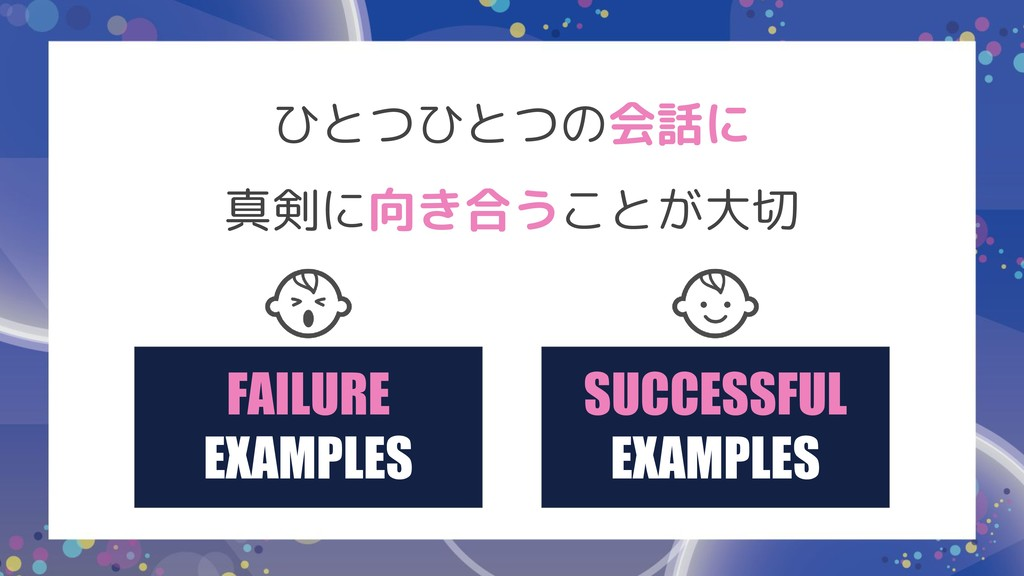 FAILURE EXAMPLES SUCCESSFUL EXAMPLES ひとつひとつの会話に...