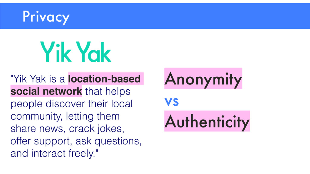 """Privacy Anonymity vs Authenticity """"Yik Yak is a..."""