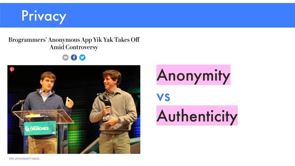 Privacy Anonymity vs Authenticity