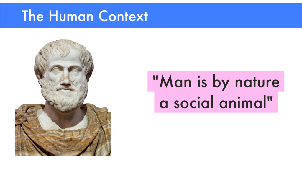 """The Human Context """"Man is by nature a social an..."""