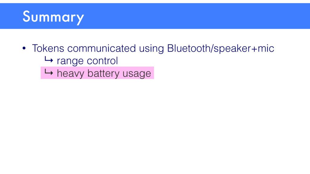 • Tokens communicated using Bluetooth/speaker+m...