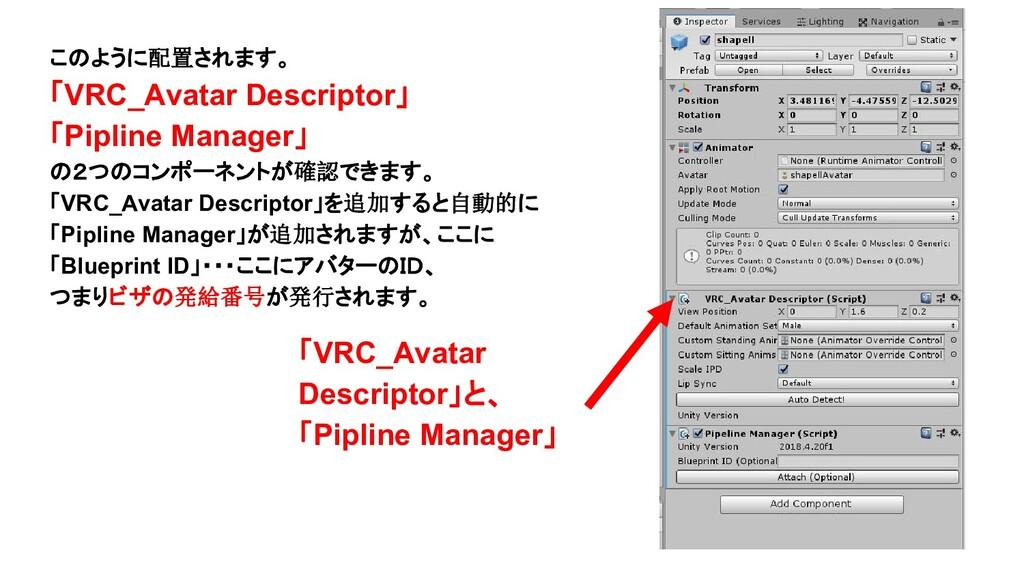 このように配置されます。 「VRC_Avatar Descriptor」 「Pipline M...