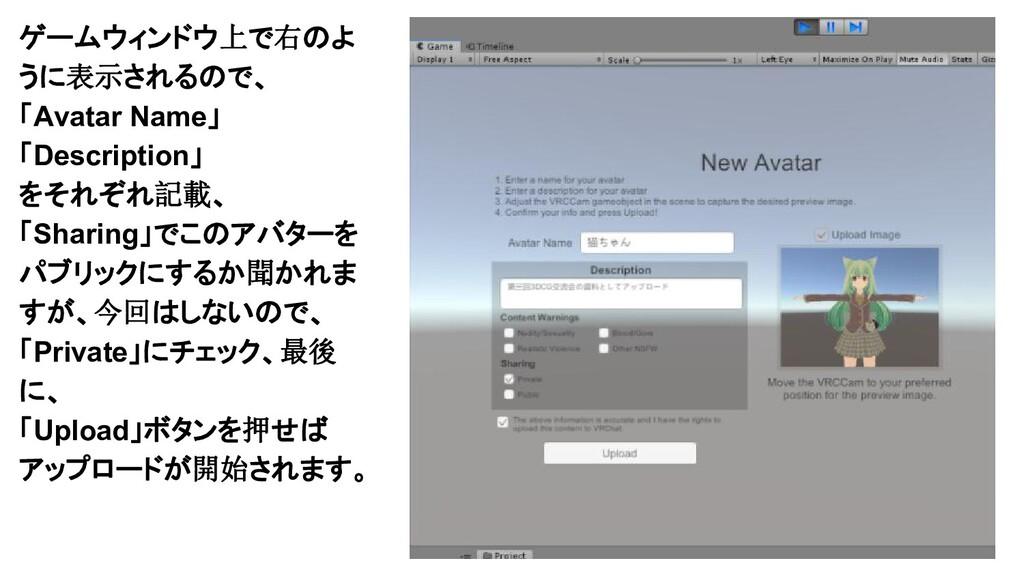ゲームウィンドウ上で右のよ うに表示されるので、 「Avatar Name」 「Descrip...